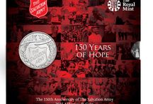Salvation Army Coin / A Brilliant Uncirculated Coin has been issued to mark 150 years of the Salvation Army which is a global organisation that evolved from humble beginnings having began in Victorian London way back in 1865. / by Post Office