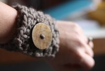 Knitted cuffs with beads