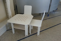 Table and chairs precompound / Table and chairs made of precomposed board for Children