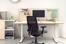 Sit & Stand Workstations / In today's modern offices, we need to be able to change working position during the day for the sake of wellness. All our work tables can be adjusted in height individually to suit each person.