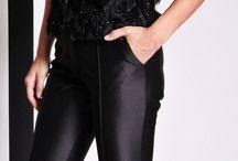 Christian Siriano ● RESORT 2014 / Jet Black feathered blouse & jet black silk pants