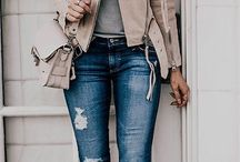 jacket with disstered jeans