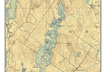"""Maine Lakes Old Topo Maps Custom Reprints / These are old composite maps of Maine Lakes custom made out of one or more USGS """"quads"""".   We add a border and a title to make the maps more attractive.  These are available from our website in different sizes and prices.  We emphasize common frame sizes but they can be customized as the buyer desires--e-mail us if you don't see what you want!"""