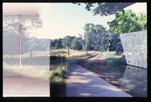 Double Exposure / Double Exposed Slide Film – French Country Side and Mies van der Rohe Barcelona Pavilion. Before photoshop there where photography accidents. While traveling, I mistakenly re-used a roll of slide film. The surface and graphic discoveries from these photos proved endless.