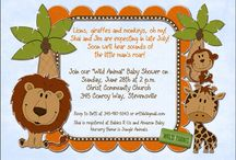 Monkey Giraffe Lion Baby Shower Invitation
