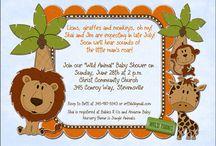 Monkey Giraffe Lion Baby Shower Invitation