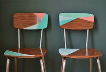 Meubles vintages et géométrie / Les tissus et les papiers aux motifs géométriques  s'invitent dans le relooking des meubles vintages pour une décoration moderne d'inspiration scandinave.