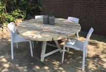 Ronde steigerhouten tafel