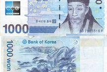 Billets Corée du Sud / Les billets de banque Corée du Sud en circulation sont : 1000, 5000, 10 000, et 50 000 won. Le won sud-coréen est la monnaie de la Corée du Sud depuis 1962.