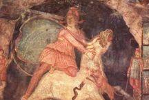Mitra / Representaciones del dios Mitra, culto expandido por las legiones romanas a lo largo del Imperio.