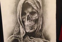 Art / I have to admit that much alongside my own artwork is sketches of the same nature to being macabre like demonic as well as grim reaper depicting designs with the charm of the Skull becoming the main exhibit I've been absorbed 2 create!!