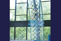 AquaClimb Sport / The AquaClimb® Sport is an innovative climbing wall that is installed on indoor and outdoor pool decks and caters mainly to teens and adults; however, there is no age restriction on who can enjoy it. AquaClimb® Sport curves and hangs over the pool so that the natural re-entry into the water is feet first and the descent is away from the pool wall and edge.