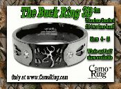 Buck Ring & Wild Trax Rings from CamoRing.com / Made exclusively by CamoRing.com, our rings feature buck, deer skull, deer tracks, doe along with brilliant stones set in Titanium or Stainless steel.