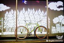 Bicycle window display inspirations / Bike related window displays