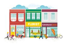 Nectar High Street / These illustrations were used for a complete campaign roll out for Sainsbury's supermarket nationwide loyalty scheme 'Nectar' in the UK. The popular scheme is being widened to include businesses throughout the UK local high streets. These illustrations were aimed specifically to promote this business growth. The campaign was rolled out across all platforms, print, web, and outdoor media.