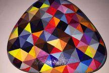 geometric/zentangle painted rocks