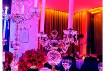 Casamiento en el Hotel Faena / La decoración en colorado y negro. Noche. Luxury