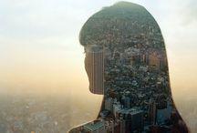 'Cityscape through lens'