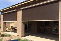 Fabric Retention Track System - Exterior Retractable Shades / The HD Fabric Retention Track Shade is a custom built exterior shade installed with a track that holds the fabric inside, not only providing shade, but also completely enclosing an area in.  The FRT Exterior shade is manufactured by Sun Control Retractable Shades.