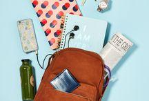 work: backpack flatlay