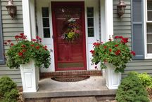 Traditional home, white porch planters