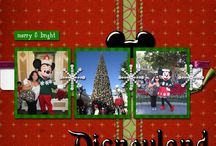 Disney Christmas Scrapbook Layouts / Use unconventional colors - Mix pinks and aquas in your holiday layouts to add in some traditional DISNEY colors! AT first glance these colors don't seem to go with Christmas red & green or Mickey yellow but somehow it all works. Must be Disney magic! Use pops of color on dark photos and paper - Use snow overlays and red & white candy cane stripes look great with dark background photos or papers