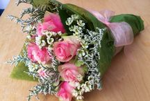Wrapped romancing bouquets.