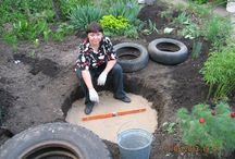 Garden pond from tyres.