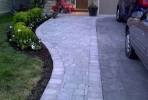 Front of house stone work and landscape ideas
