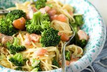 Spaghetti. Met zalm en broccoli