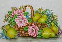 Q  lindas as frutas no tecidos