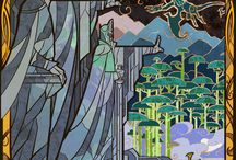 LOTR illustrations / stained glass style art of awesomeness by Jian Guo