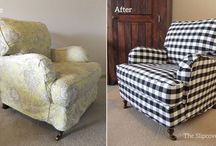 Brittany's Buffalo Check Slipcover / Bold and beautiful! Custom slipcovers in Naples Shade Buffalo Check updates a pair of English rolled arm chairs.