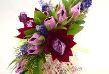 Palline in rattan con fiori
