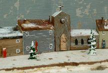 Kersthuisjes drift hout