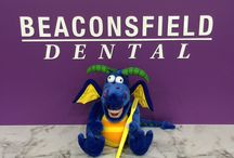 Oral hygiene dragon / This our new oral hygiene dragon. We use him to show children how to brush their teeth. Can anyone suggest a name?