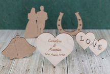 Wedding wooden shapes