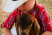 Kids on the farm / Boys and girls with their animals