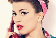 Pin Up Girls / Hair and make up 50's style - thicker batwing flicks and a beauty spot. Classic!