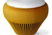 Decor ecológico / Móveis feitos com pneus de reuso revestidos à mão com cordas PET, Poliester ou Sisal.