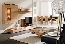 """Cool Living Room Furniture! / Voglauer's """"V-Soft"""" line's living area furniture emanates elegance and well being in all living spaces with its softly rounded, solid wood components. Nature, in the form of the fine woods utilized in construction of the """"V-Soft"""" line, is combined with modern design language. The result is a functional beauty that gives the cubic shapes a soft easiness."""