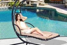 Beige Metal Swing Garden Patio Outdoor Relax Summer Sun Chairs Sofa Hammock Home