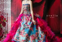 Romantic blue multicolor flowery wedding dress
