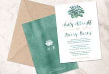 Succulent Wedding / Wedding invitations, favor tags and labels with succulents.