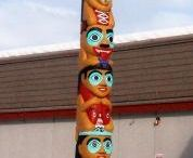 Totem poles / A Christmas totem pole plays a major role in my story The Gold Rush Christmas; here are some samples.