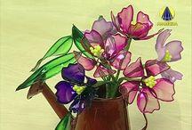 Flores de resina plastica