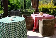 Poly Check Table Linens / Poly Checkered Tablecloths, also known as Gingham Table Linens. Used by upscale hotels, resorts, restaurants, cafes, and caterers. Ideal for Southern Style restaurants, down home cooking, country, western, picnic themed buffets.