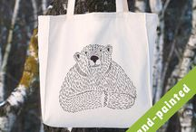 WOODLAND TOTE BAGS / hand painted tote bags
