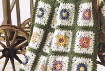 crochet blanket and tabke clothes