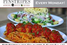 Pinstripes Offerings / Whether it is a $5 burger while bowling, or our deliciously famous brunch on Sundays, we've always got a lot going on at Pinstripes! Looking forward to having you join us soon!  / by Pinstripes